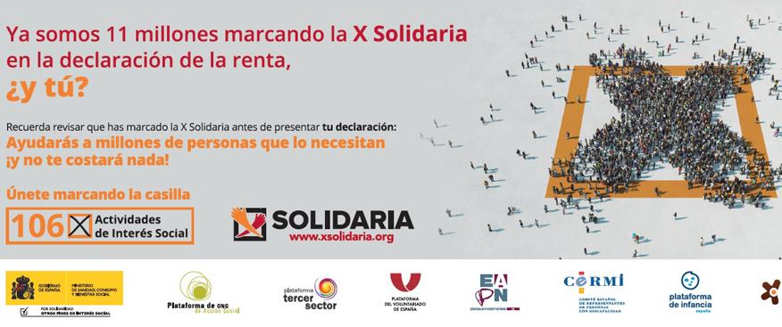 No te olvides de marcar la X Solidaria en tu Declaración de la Renta